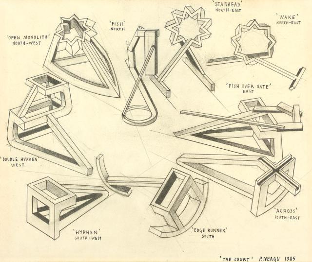 Paul Neagu, Curtea, creion pe hârtie