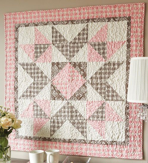 "38"" sq quilt. Love the brown and pink and the plaid."