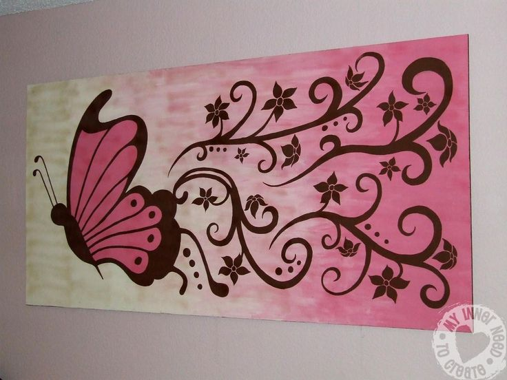 My Inner Need To Create Brown And Pink Butterfly And Flower Mural Wallpaper