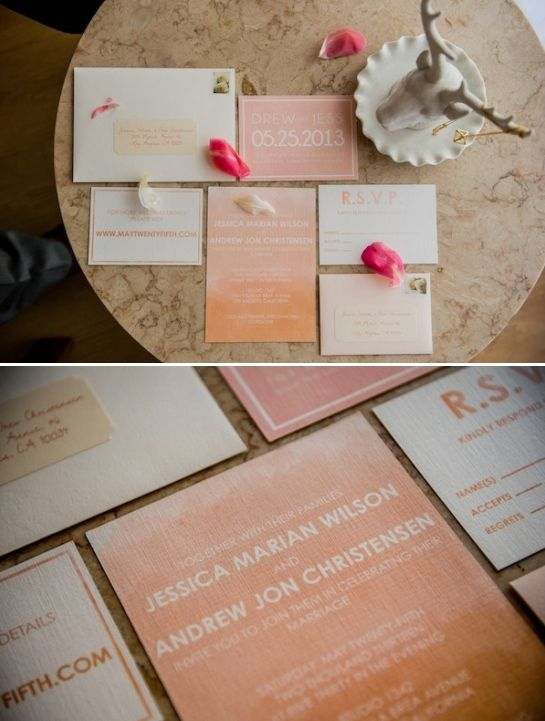 watercolor wedding invites. love this, very suttle