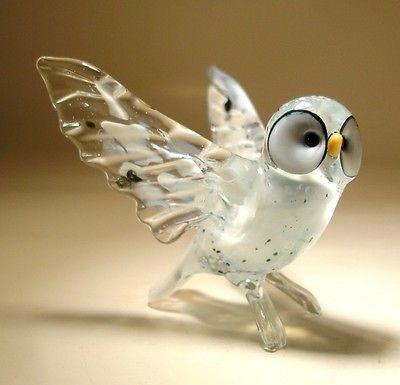 "Blown Glass ""Murano"" Art Figurine Bird White North Polar Owl with Open Wings | eBay"