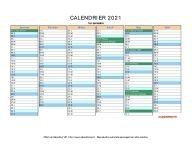 Calendrier 2021 à imprimer gratuit en PDF et Excel en 2020