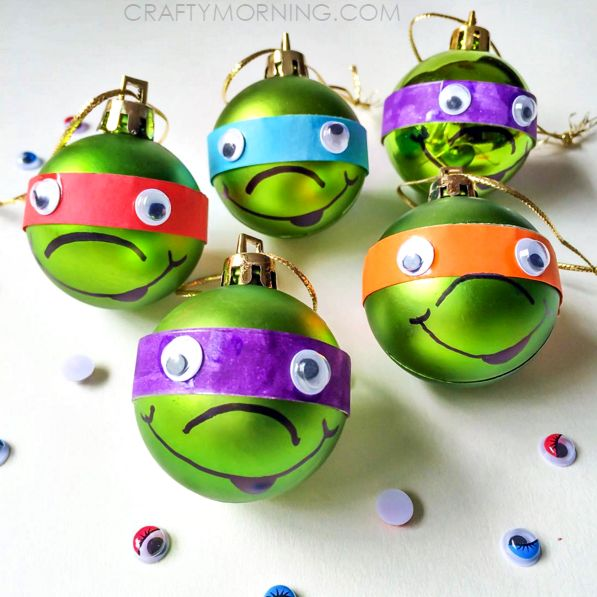 Cute Ninja Turtle DIY Christmas Ornaments | If you're looking for DIY Christmas crafts that even the most rowdy kid will want to settle down and make, then you've found just the thing.