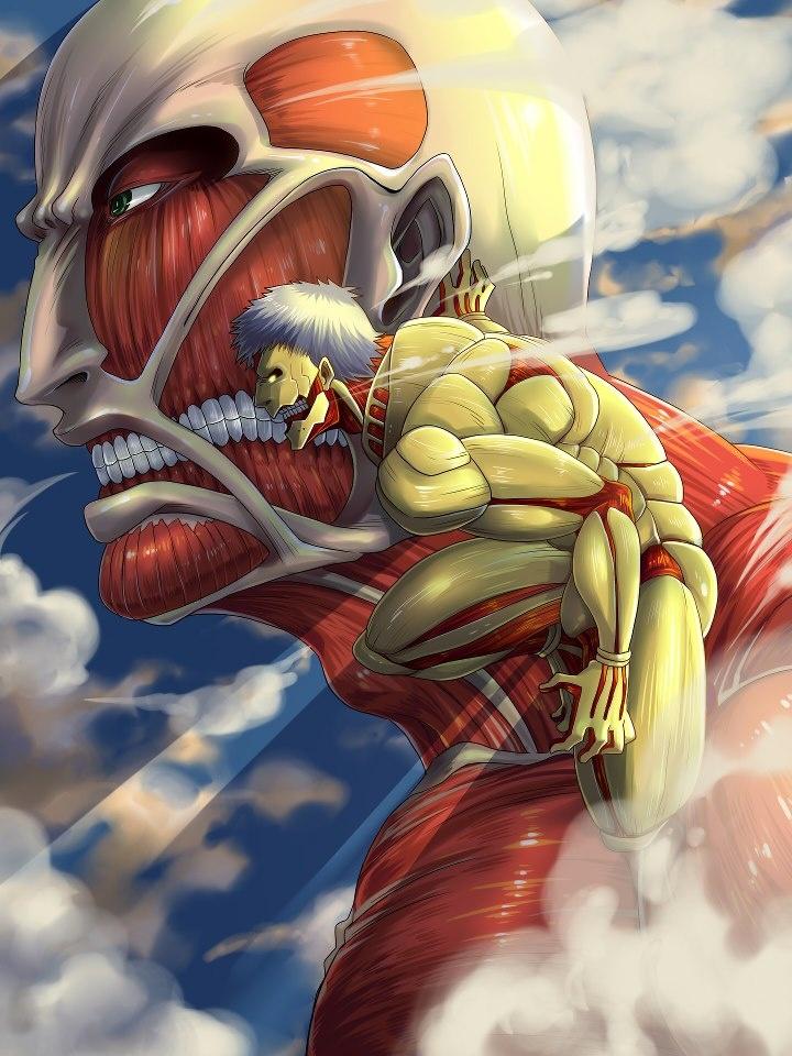 Shingeki no Kyojin - The colossal titan and armored titan ...