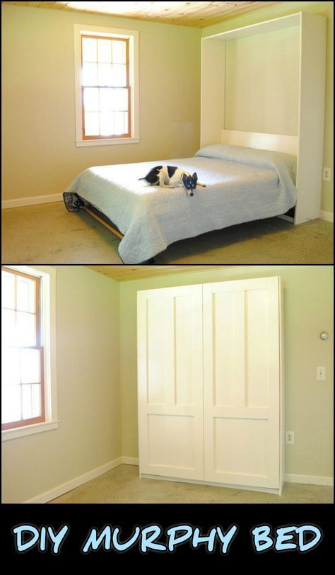 This DIY Murphy Bed is a great piece of furniture to have for a guest room. It lets you free up floor space when not in use so you can have the room for other purposes! Is this going to be your next project?
