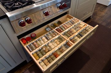 Good way to be able to see all the spices, would have to be able to have spices in the racks when selling the house to show people how they can be effectively used.