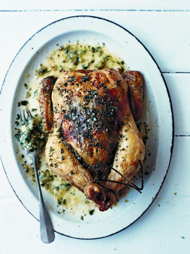 roasted chicken with herb sauce and sage salt from donna hay