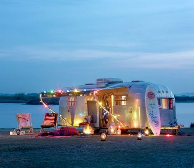 Caravan with multi coloured Christmas lights