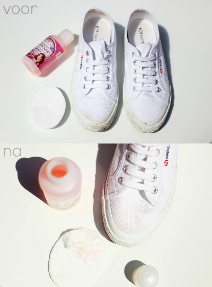 Schoenen schoonmaken met nagellak remover