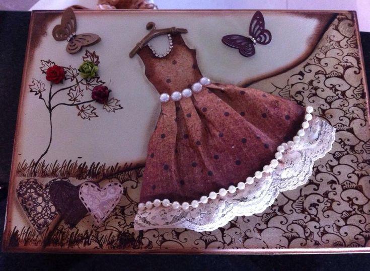 Caixa Mdf, decoração vestido, molde Loucas por Caixas. Scrapdecor.