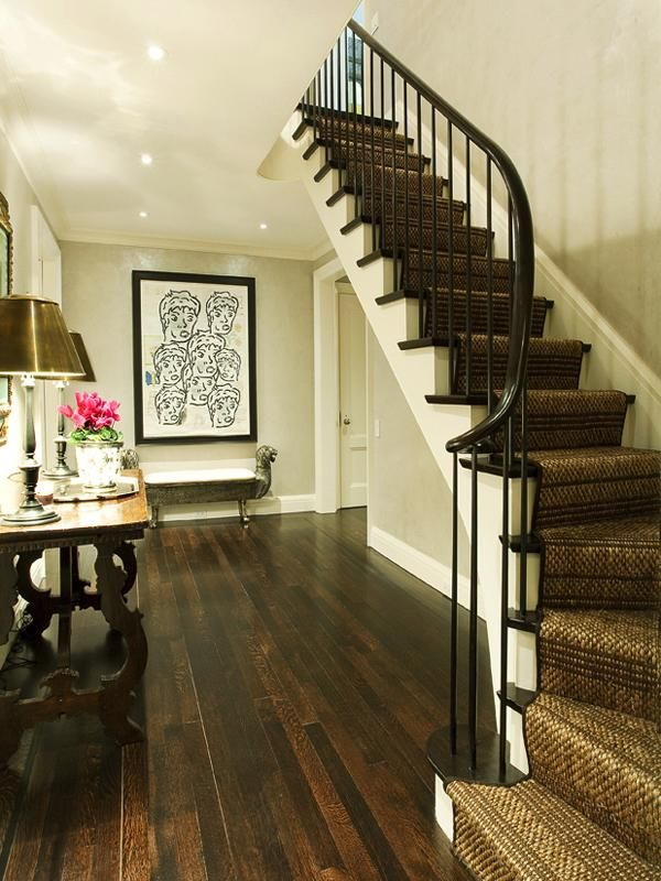 Nice way to keep carpet on the stairs but still have hardwood floors