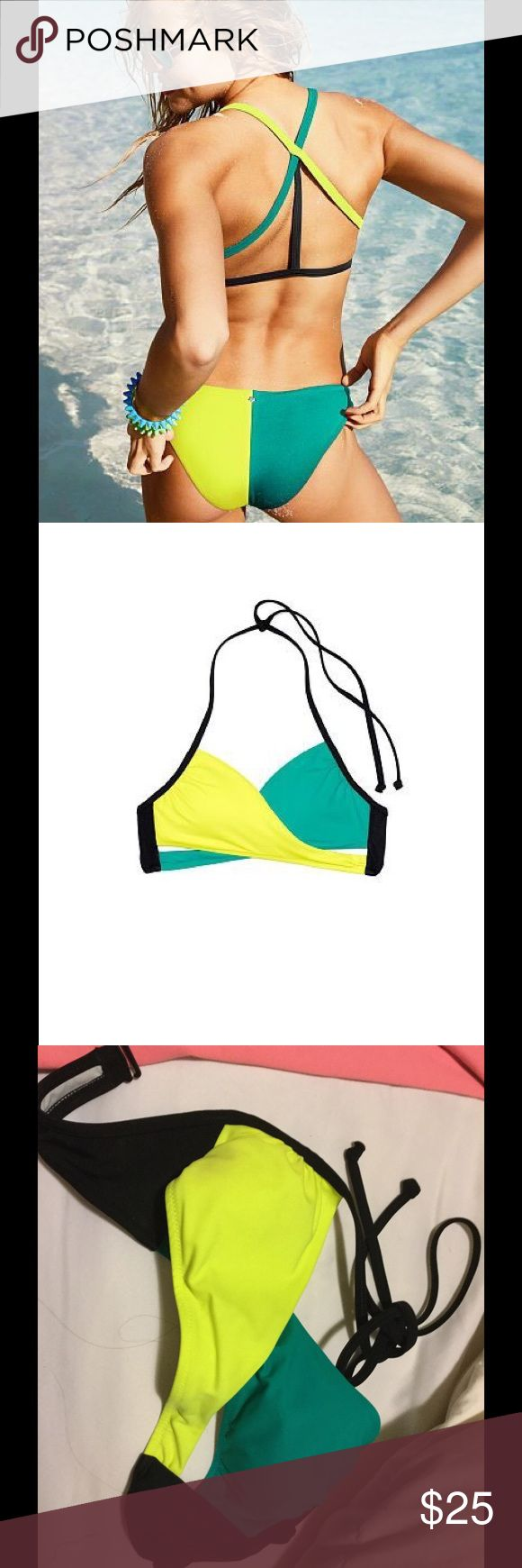 Victoria secret PINK bikinis Cute colorblock bikini. Both top and bottom are XS in size. PINK Victoria's Secret Swim Bikinis