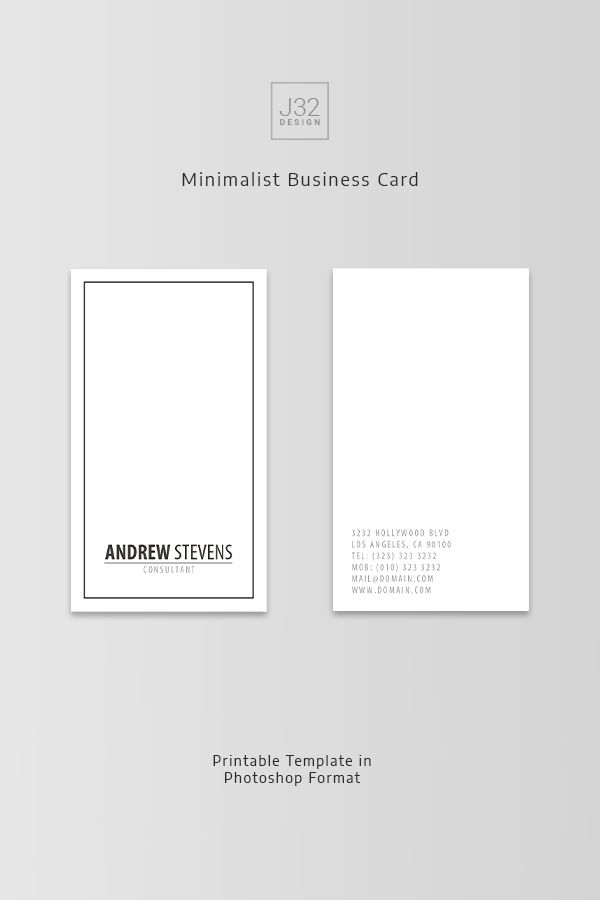 Minimalist Business Card Template Professional Minimal Business
