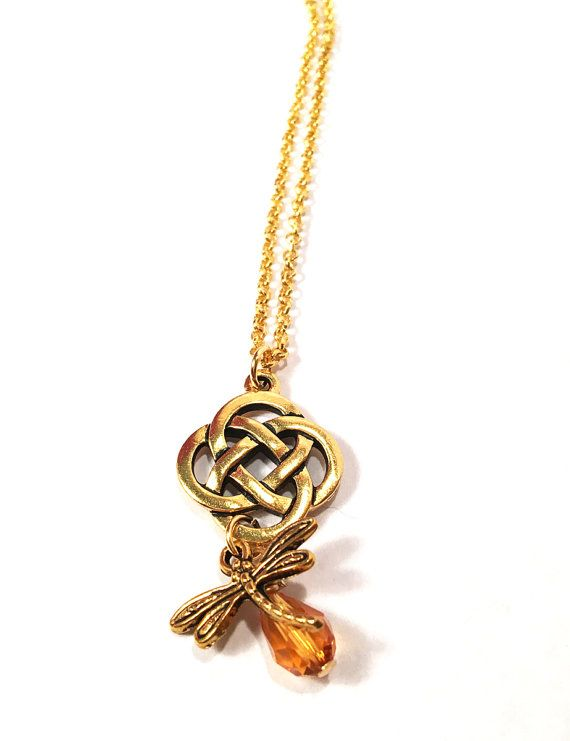 The 22 best outlander jewelry scottish irish celtic necklaces outlander 22kt gold plated celtic eternity knot cross dragonfly in amber scottish irish gaelic pendant necklace chain aloadofball Choice Image