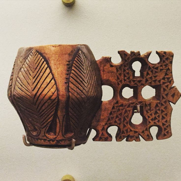 Romanian carved wooden cup at Horniman Museum, London
