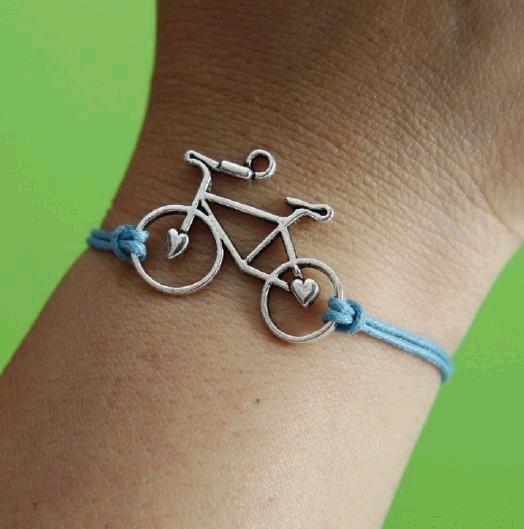 Sideways silver bicycle bracelet,blue wax cords bracelet.