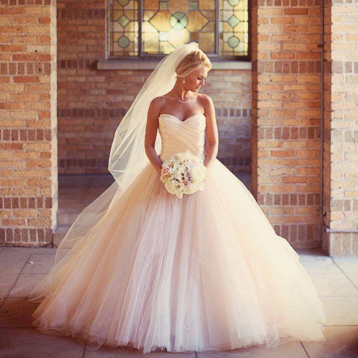 2016 Sexy Ball Gowns Peach Wedding Dress High Quality Luxury Sweetheart Bridal Gown Puffy Dresses Vestido De Noiva