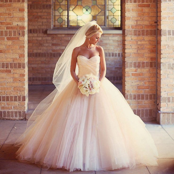 2016 Sexy Ball Gowns Peach Wedding Dress High Quality Luxury Sweetheart Bridal Gown Puffy Wedding Dresses Vestido De Noiva