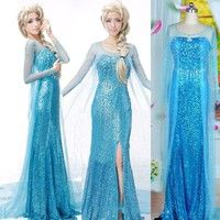 Wish | Elegant Frozen Elsa Ice Queen Women Dress Skirt Cosplay Costume Fancy Dresses