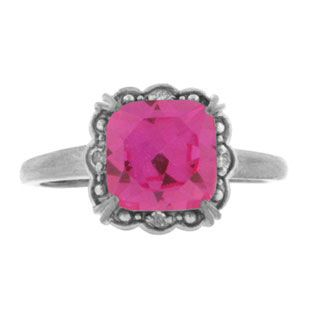 Diamond Cushion-Cut Pink Topaz Birthstone Sterling Silver Ring Available Exclusively at Gemologica.com