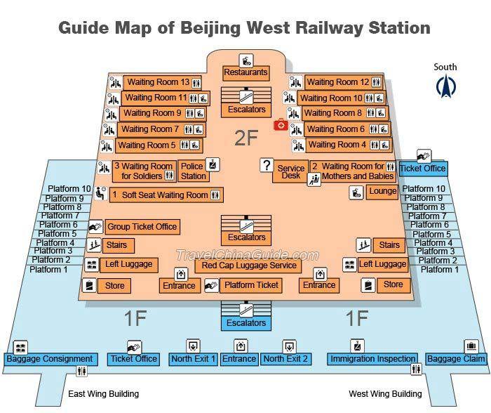 Beijing West Railway Station China China Map Railway Station Illustrated Map
