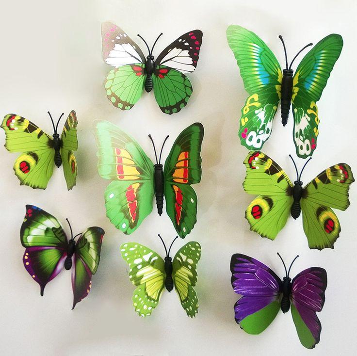 Wall Sticker - Pop-up Butterflies - Green