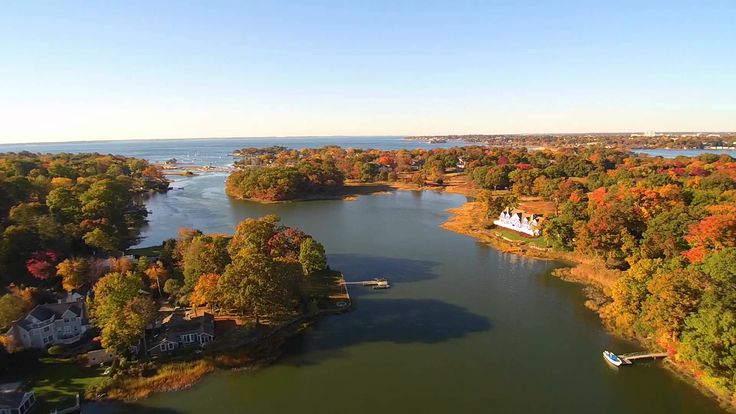 This beautiful aerial photo displaying Darien, CT during a beautiful fall day.