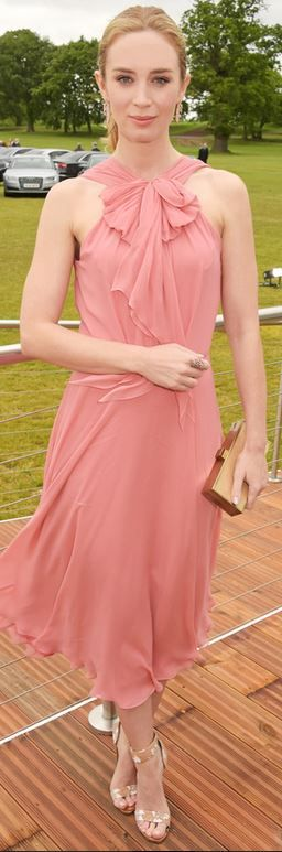 Who made Emily Blunt's pink bow dress and sandals?