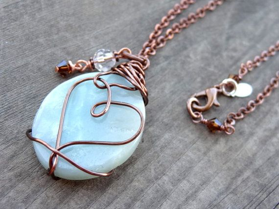 Blue Amazonite Crystal Bead Pendant Copper Wire by LuvAlisa, $35.00: Truth Compassion, Calm Truth, Crystal Beads
