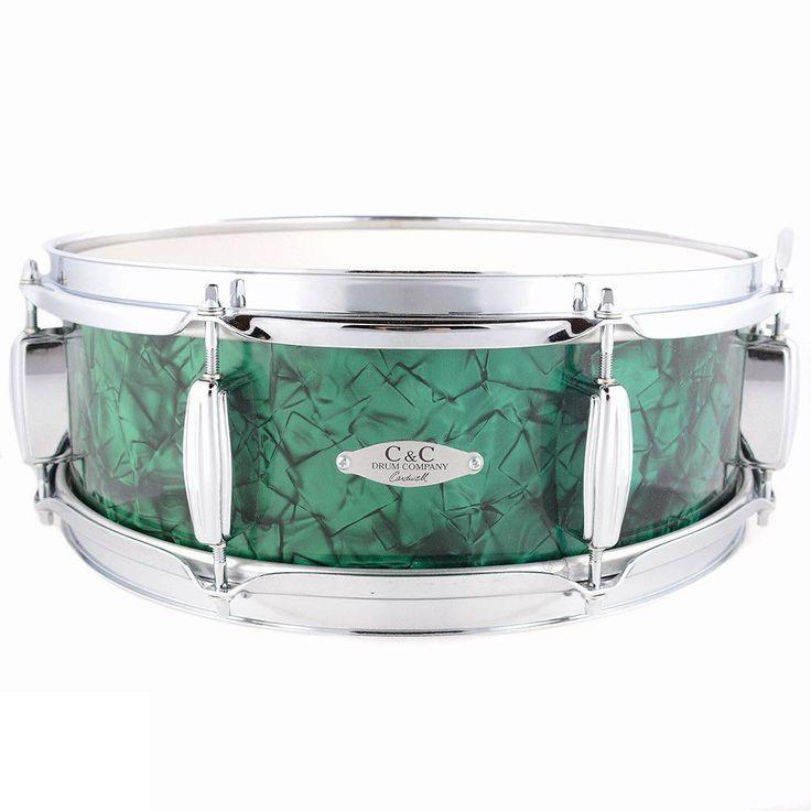 C&C 5x14 Maple/Gum 8 Lug Snare Drum w/Triple Flange Hoops Vintage 70s Emerald Green Pearl