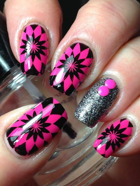 Geometric Nails! Pink & black stamping nail art.