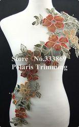 Online Shop Frete Grátis 1PC x Longo Multi-colorido colar de flores bordado decote Lace Applique guarnição preto Base de costura DIY Artesanato PBNC30I|Aliexpress Mobile