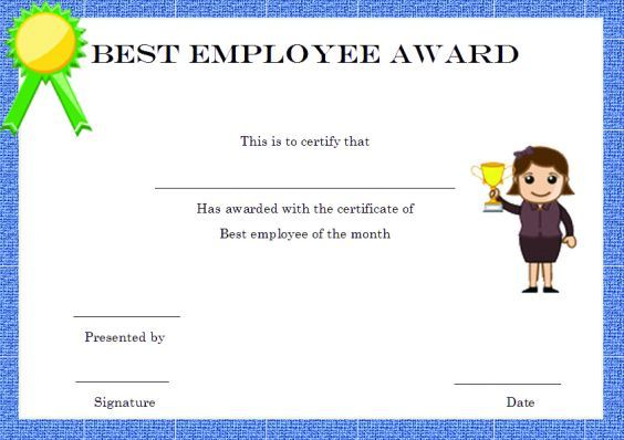 22 best Award certificates images on Pinterest Award certificates - free employee of the month certificate template