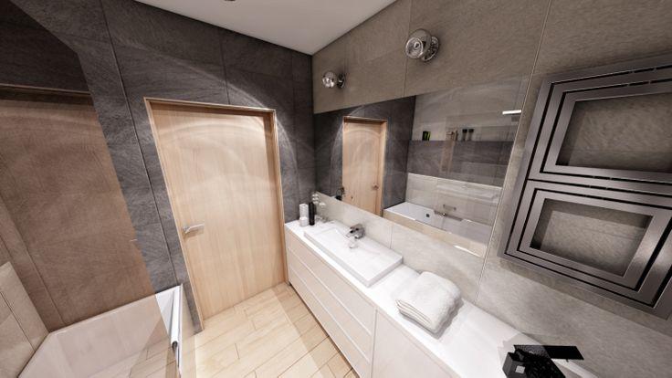 Wizualizacje łazienki, drzwi drewniane wewnętrzne