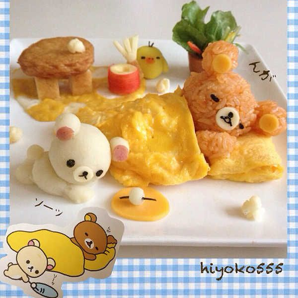 Rilakkuma diorama omelet with a filling of ketchup-seasoned fried rice