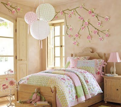 Pink and green kids room and cute pottery barn mural