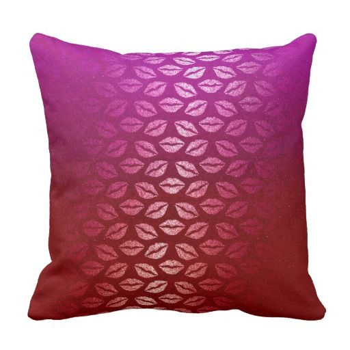 Kiss Mouth Burgundy Pink Foxier Contemporary Throw Pillow