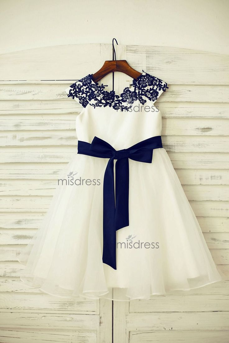 Navy Blue Lace Ivory Satin Tulle Flower Girl Dress with navy blue sash