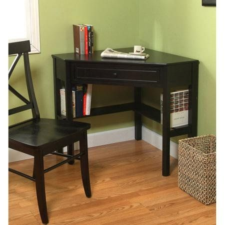 """Corner Writing Desk, Multiple Finishes. Cherry or Black or antique white or espresso finish. Lower shelves are great for books or knickknacks. Wooden corner desk constructed of wood and MDF. Dimensions: 42""""W x 28""""D x 30""""H. 1 drawer for storage."""