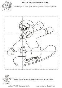 Zimné športy - Poskladaj obrázok - puzzle - pracovný list z ABC