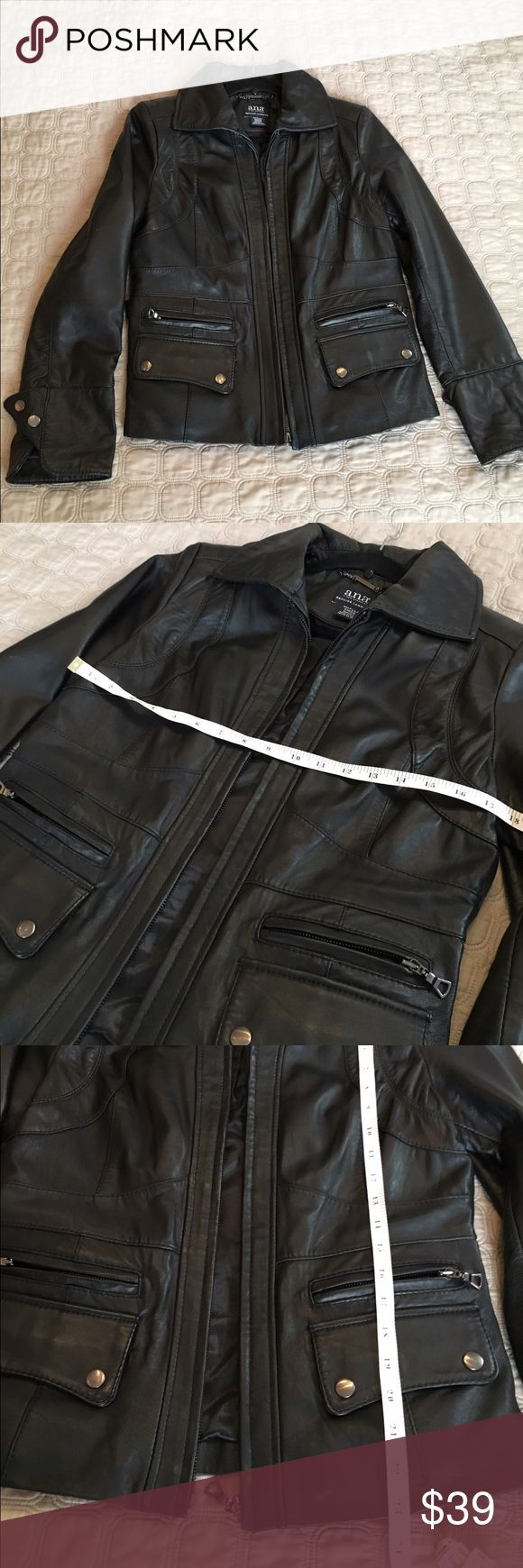 A.N.A genuine lambskin leather jacket, size S This jacket is in a perfect condition. No stains or rips or any signs of wear. Comes from a pet free, smoke free home. Made from 100% genuine leather! a.n.a Jackets & Coats