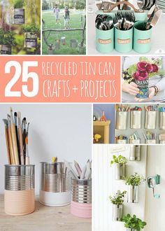 Happy Earth Day everyone! In honour of this special day I've rounded up 25 recycled tin can crafts and projects. I am amazed at all the incredible things one can do with a simple tin can! Take a peek at all these fun ideas! Chalkboard Paint Tin Can Pots | The Garden Glove Fruit Can …