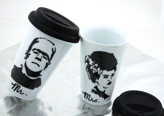 Mr and Mrs Travel Mug Set with Bride of Frankenstein and Frankenstein Monster