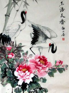 Chinese Crane Painting,50cm x 70cm,4700011-x