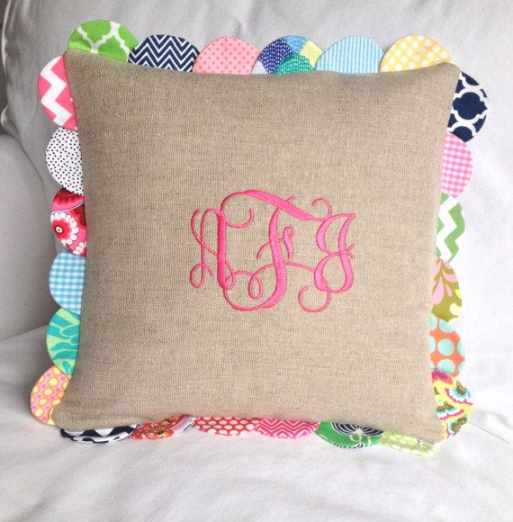 Scalloped Linen Pillow with Monogram by peppermintbee on Etsy, Amy Butler Monogrammed Nursery