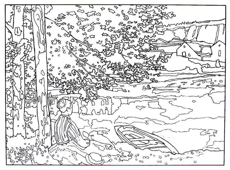 On the seine at bennecourt impressionist painting by for Impressionist coloring pages