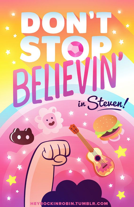 Dont stop believing... in Steven! Put your faith in the half-human Crystal Gem from Beach City with his trusty hamburger backpack, ukulele, pet lion and cookie cat. Steven Universe is the youngest member of the Crystal Gems, a team of magical guardians who protect the Universe. This geeky art print is a great gift for a Steven Universe fan.  * This poster is printed on holography sparkle paper!! *  For MORE Steven Universe goodness, visit: https://www.etsy.com/shop/heyrock...