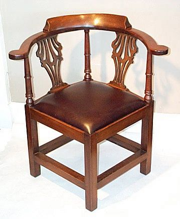 Handmade Chippendale Corner Chair in  solid mahogany | Maker: Arthur D. Weed c2005