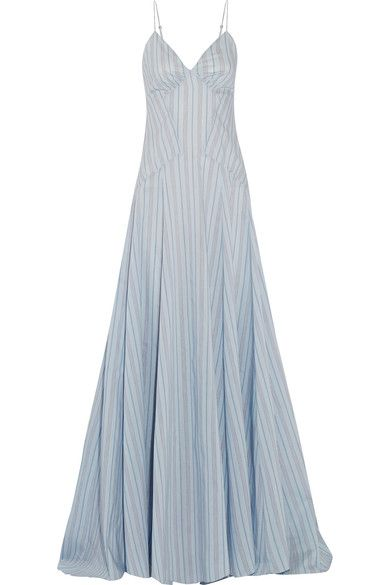 Rosie Assoulin - Negligee Striped Cotton And Silk-blend Gown - Light blue - US