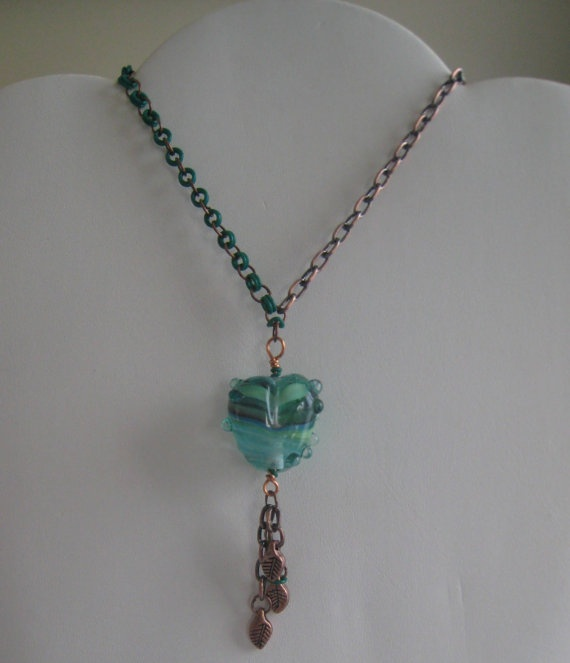 Artisan Glass Beaded Copper Necklace by ZaZing on Etsy, $50.00